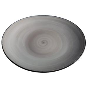 Oval handmålad beige tallrik 30,5 cm
