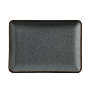 Tallrik flat 30X22cm gråblå