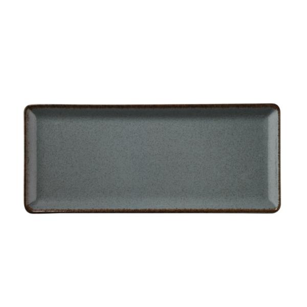 Tallrik flat 35X15cm gråblå